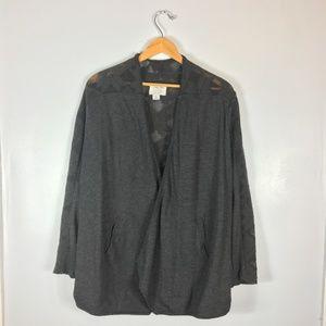 Lucky Lotus Gray Knit Shawl Cardigan   Size: M
